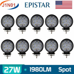 10x 27w Round Spot Led Work Light Bar Offroad Driving Lamp Suv Boat Bumper Ford