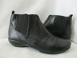 Aetrex Kailey Black Leather Zip Ankle Boots Womens Size 6.5 M