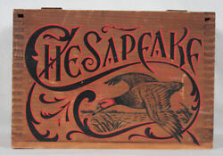 Rare Vintage Chesapeake Duck Motif Wooden Crate Ammo Display Box With Lid