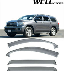 For 08-plus Toyota Sequoia Clip On Wellvisors Window Visors Deflectors Side New