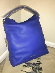NWT Burberry London Grainy Leather Medium Cale Hobo Blue Tote Bag Made in Italy $769.95