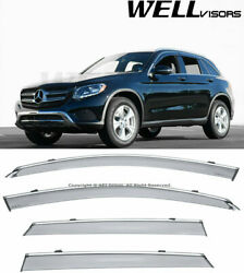 For 16-plus Mb Glc-class X253 Clip On Wellvisors Window Visors Deflectors Chrome