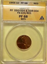 1955 Lincoln Cent Anacs Proof 68 Red Ddo And Ddr - Fs-103/801