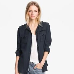 Elizabeth And James Rumpled New Bedford Jacket Shirt Military Blue Sz Small