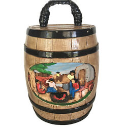 Ceramic Whiskey Barrel Cookie Jar Canister Pioneer Wagon Trail Vtg Hershey Molds