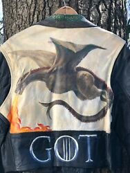 Game Of Thrones Hand Painted Vintage Leather Motorcycle Jacket Womens Xl.