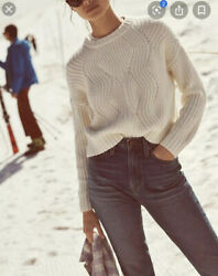 Madewell Everett Rib-play Sweater Pullover Cable Knit Antique Cream Womens Sz M