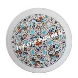 16 Marble Round Serving Plate Collectible Mosaic Inlay Arts Gifts Decor H1426
