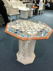 24 Marble Chess Side Table Top With Stand Multi Inlay Home Furniture Decor E945
