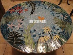 42'' Marble Dining Round Coffee Table Top Pauashell Inlay Patio Art Mosaic Decor