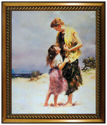 Pino Daeni Large Embellished Giclee On Canvas Tenderness Signed Mother Daughter