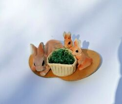 Vintage Chalkware Three Easter Bunny Rabbit On Card With Candy Cup