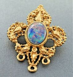 Womens Brooch Opal Triplet Gold Plated Base Metal Vintage Collectable Fashion