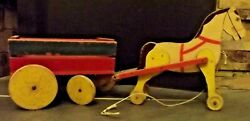 Antique Hand Painted Wood Horse And Wagon Buggy Wooden Pull Toy