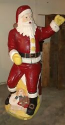 ☆rare Adorable Large Vintage Poloron Santa Blow Mold Works Almost Life-size 5ft