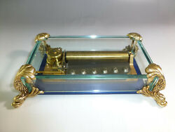 Vintage Swiss Reuge 72 Music Box Crystal Clear Glass Case Large Dolphin Legs