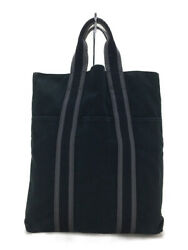 Authentic HERMES ale line CABAS tote bag nylon canvas black handbags used $195.00