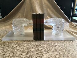 Lalique Pair Of Frosted Glass Eagle Head Bookends