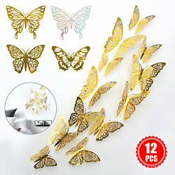 12 24Pcs 3D Butterfly Wall Decals Stickers Decorations 3D Hollow Out Home Decor