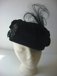 Antique Edwardian Velvet Toque Hat With French Jet And Feather Detail