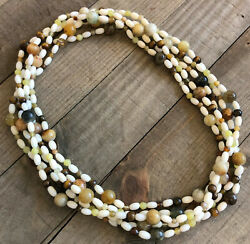 Jay King 100 White Coral, Serpentine, Tiger's Eye Necklace, Sterling Silver