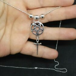 Pentagram Athame/sword Inverted Pentacle Silver Wiccan Pagan Druid Necklace