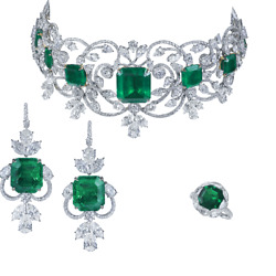 925 Sterling Silver Emerald Necklace With Matching Earrings Ring Party Set