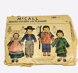 Doll Pattern French Chinese Boys Girls Mccalls 1203 Sewing Crafts Leisure Vtg