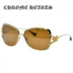 CHROME HEARTS Sunglasses CALLMEBACK GP Gold Frame Brown Lens for women