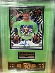 John Cena Autographed Framed 11x14 With Mini Belt Nice Wwe You Can't See Me