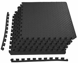 Rubber Puzzle Mat Gym Fitness Floor Exercise Interlocking Tiles 3/4 Thick 24 Sqf