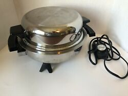 Vtg Webalco Electric Skillet Oil Core 11 Stainless With Dome Lid 7906