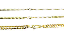 Authentic 14k Solid Yellow Gold Cuban Link Chain Necklace 2.5-4.5mm Size 16-30