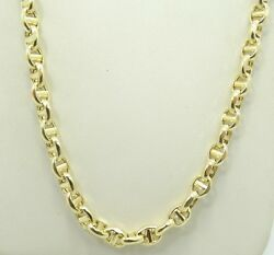 14k Y Gold Dia Cut 4mm Mariner Anchor Link Chain Necklace 20.5 14.6g D6586