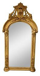 Antique Louis Xvi French Tall Arched Carved Gold Giltwood Carved Wall Mirror