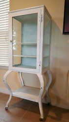 Early 1900and039s Antique Metal Dental Cabinet / Display Case