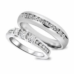 14k White Gold 7/8 Carat T.w. Round Cut Diamond His And Hers Wedding Band Set