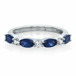 Blue Sapphire And 1/7 Ct. Tw. Diamond Band In 14k Gold