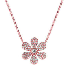 Simulated Round Cut Diamond Flower Pendant W/18 Chain Solid 14k Rose Gold