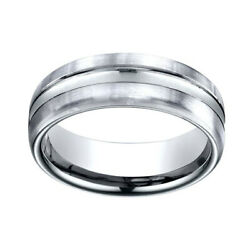 18k White Gold 7.5mm Comfort Fit High Polish Center Cut Carved Band Ring Sz 8