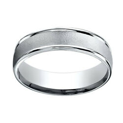 14k White Gold 6mm Comfort-fit Wired-finished High Polished Band Ring Sz-10