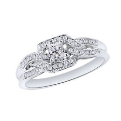 1 Ct Princess And Round Cut Natural Diamond Engagement Ring 10k White Gold