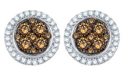 0.5 Ct Champagne And Natural Diamond Frame Cluster Stud Earrings In 10k White Gold