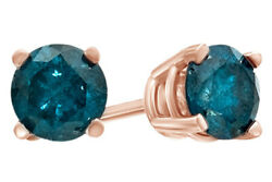 1.00 Ct Blue Diamond Solitaire Stud Earrings In 14k Rose Gold
