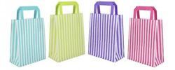 Party Paper Gift Bag Candy Stripe Flat Handle Bags Birthday Multi Listing