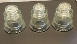 Lot Of 3 Hemingray 42, 0-4 Clear Glass Insulators Made In Usa