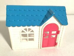 Vintage 8 Wide White Plastic Playhouse W/blue Shingle Roof And Pink Door China