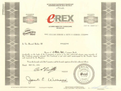 E-rex Computer Hardware Software And Web Hosting Internet Stock Certificate