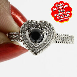 0.43 Ct Natural Diamond Heart Solitaire Ring 14k White Gold Over Sterling Silver