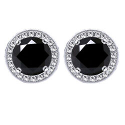 5.25 Ct Black Moissanite Round Halo Style Stud Earrings In Sterling Silver